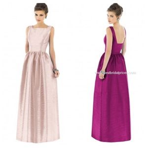 Alfred Sung Pale Pink Square Neck Bridesmaid Gown
